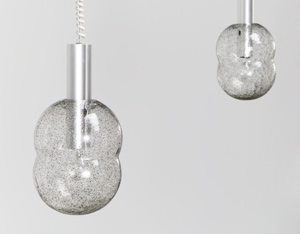 Tobia Scarpa pair of Bilobo pendant lamps Pulegoso glass Flos
