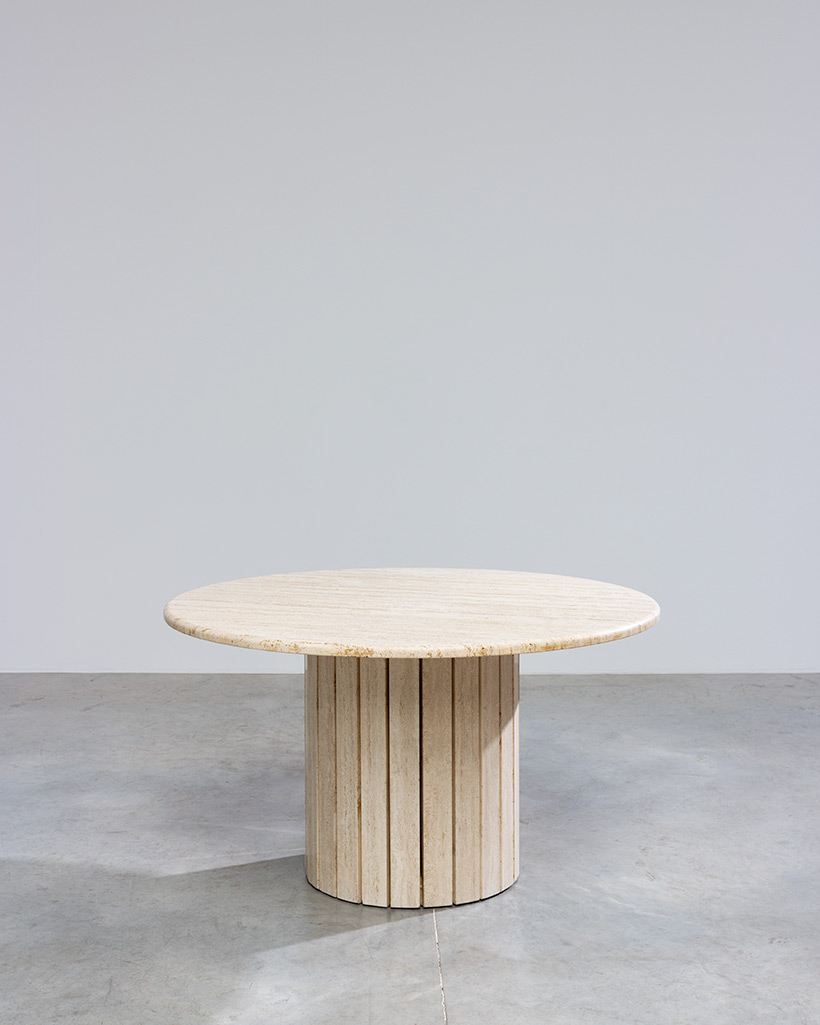 Travertine round dining table or console circa 1970 Modernism img 3