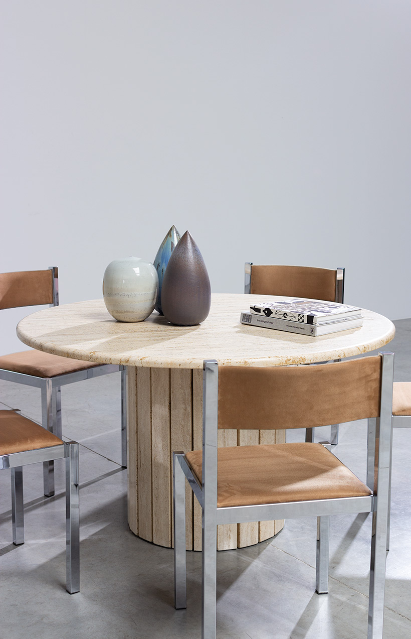 Travertine round dining table or console circa 1970 Modernism img 5