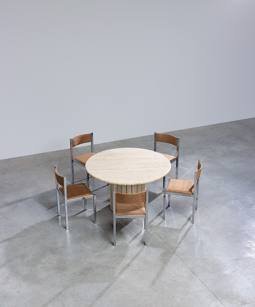 Travertine round dining table or console circa 1970 Modernism img 6