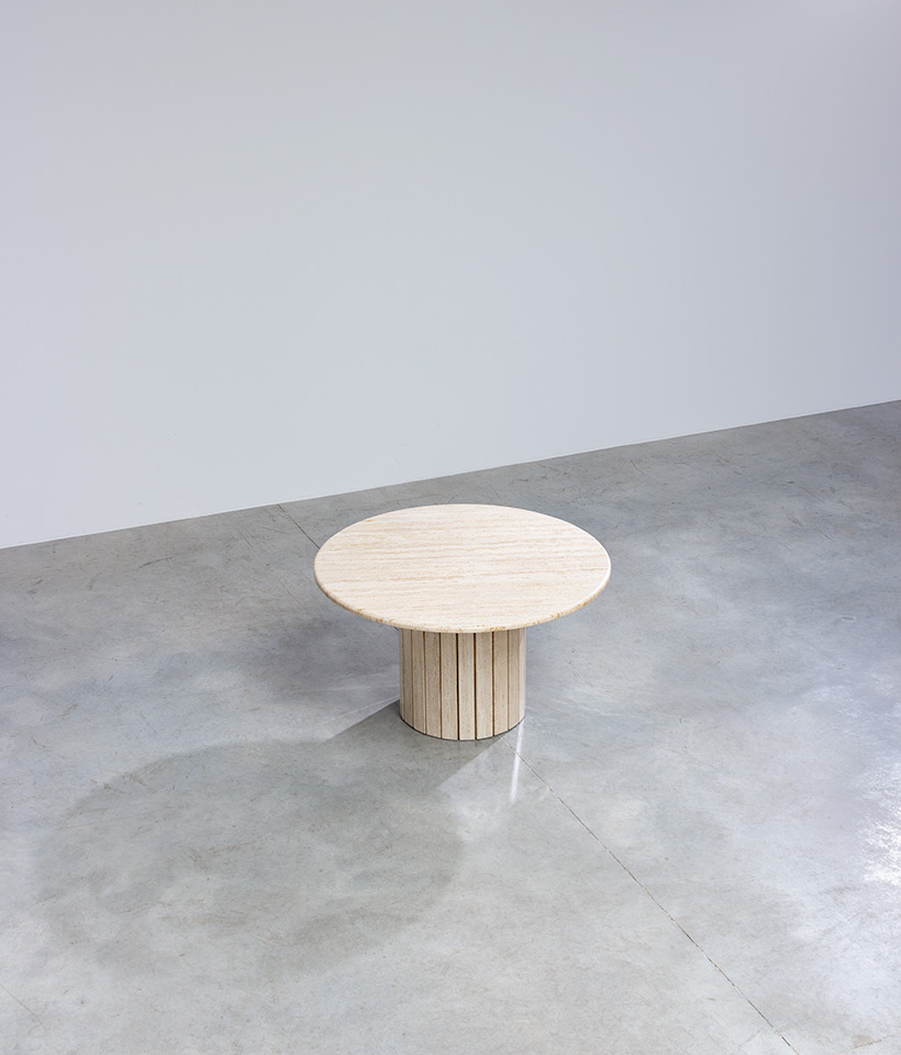 Travertine round dining table or console circa 1970 Modernism img 7