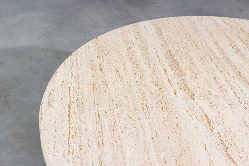 Travertine round dining table or console circa 1970 Modernism img 9