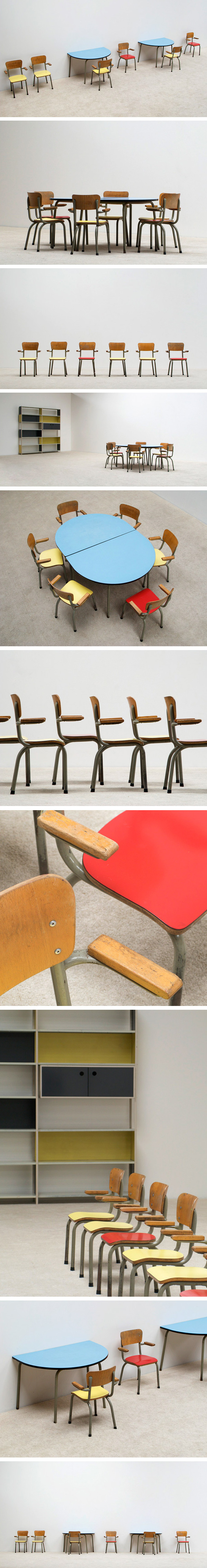 Tubax school tables with 6 chairs for children Large