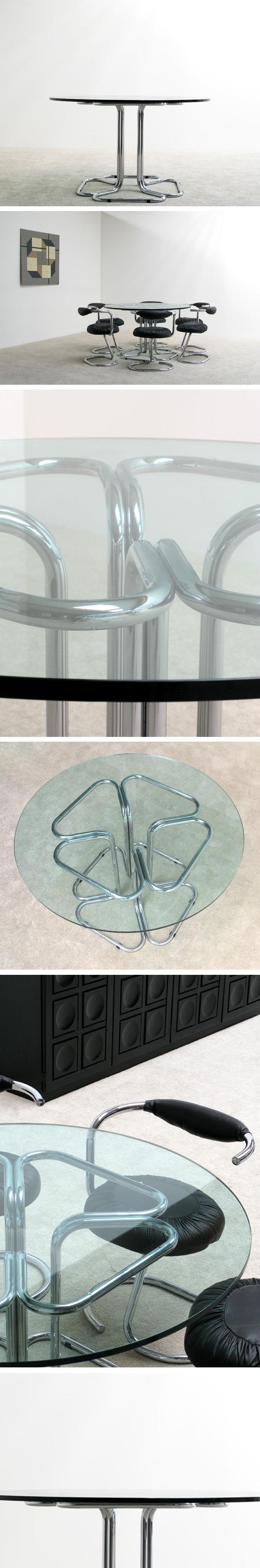 Tubular chrome dinning table Circa 70 Large