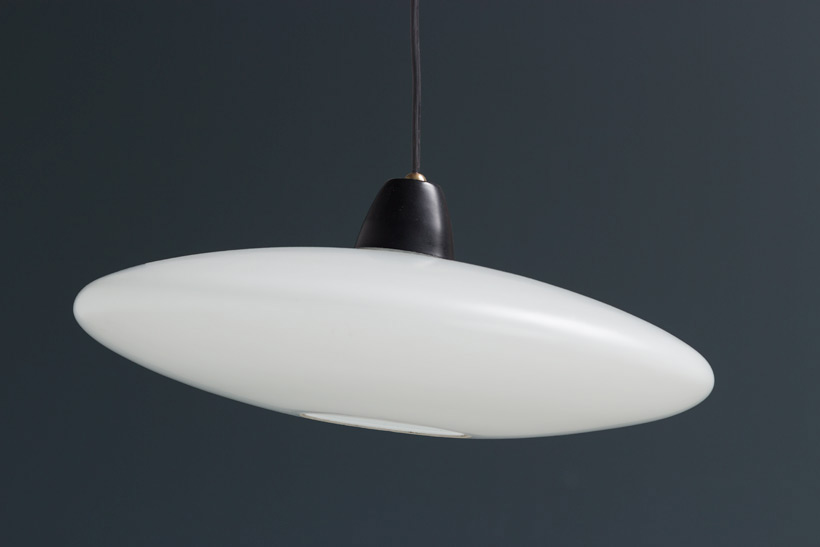 UFO or flying saucer pendant lamp in opaline glass 1950 Large