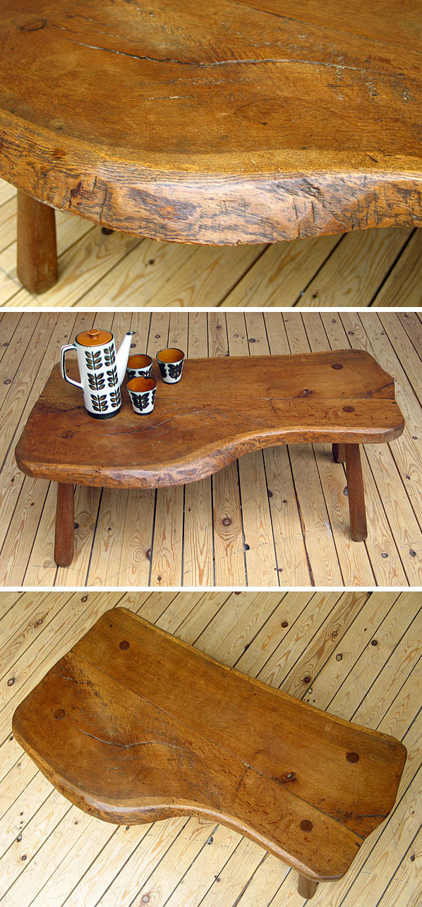 Unique freeform wooden custom coffee table Large