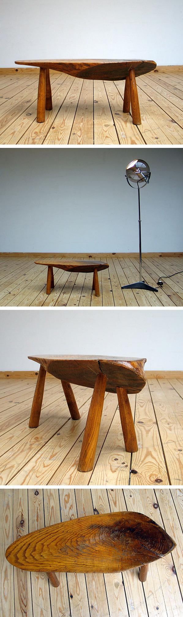 Unique freeform wooden custom stool Large