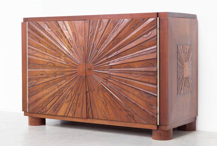 Unique graphic sideboard in mahogany signed by Kint and Fils Gand 1940
