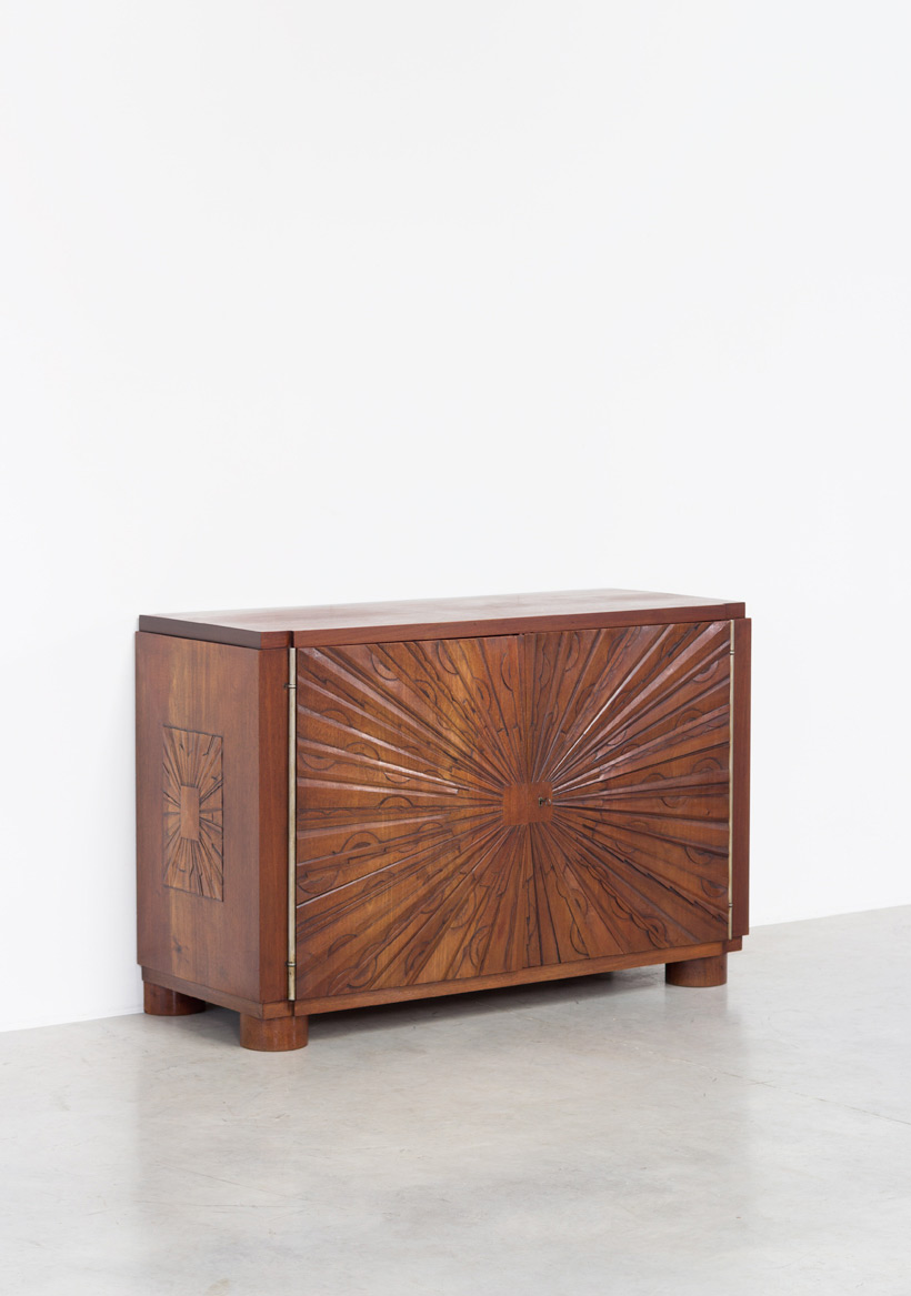 Unique graphic sideboard in mahogany signed by Kint and Fils Gand 1940 Large
