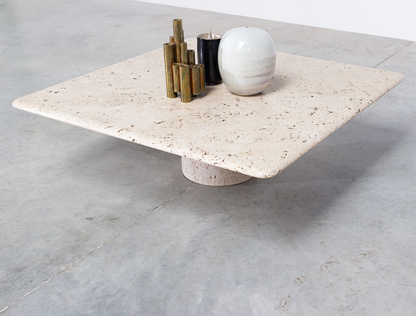 UP UP 20th century Modern travertine coffee table circa 1970 Italy