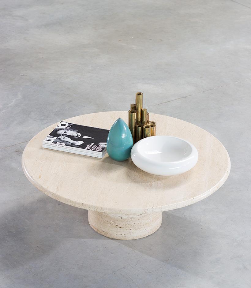 UP UP Mid Century Modern travertine coffee table circa 1970