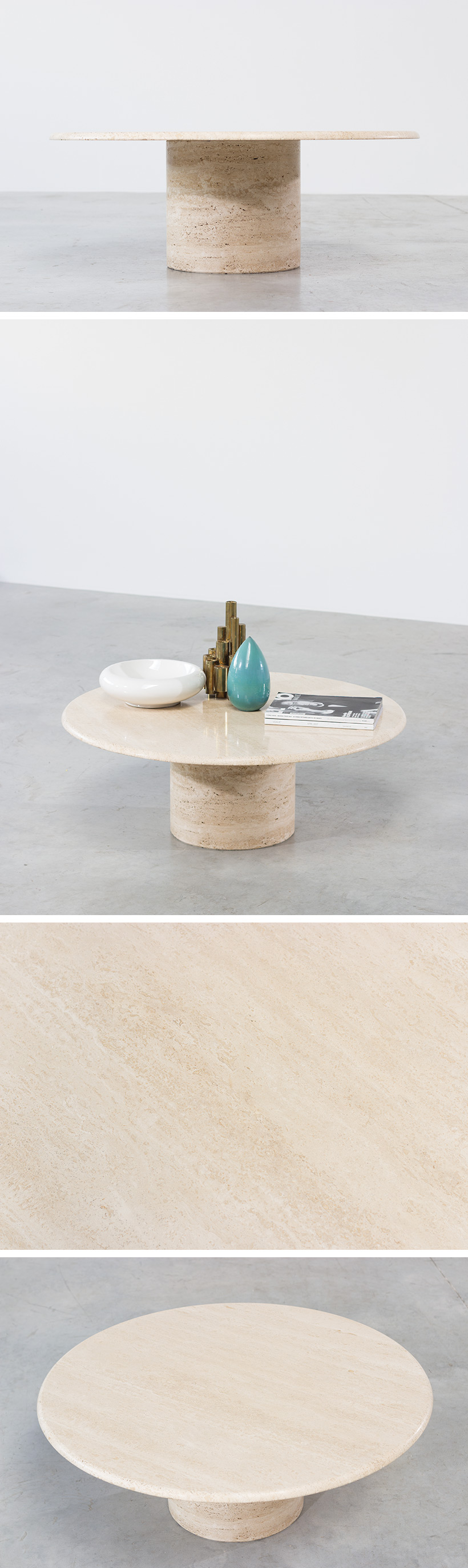 UP UP Mid Century Modern travertine coffee table circa 1970 Large