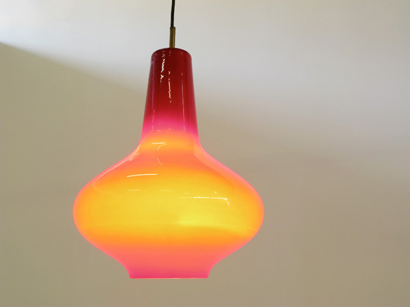Vistosi Red Glass ceiling lamp 1960
