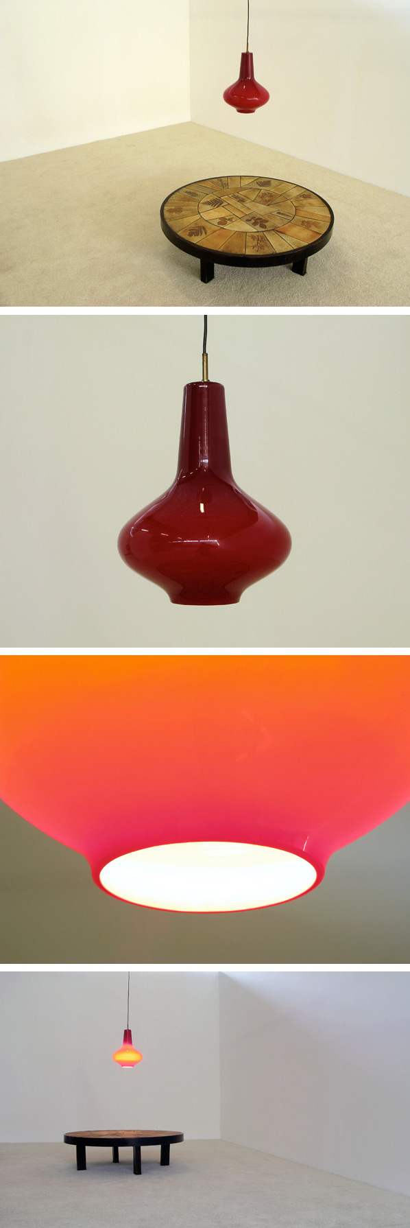 Vistosi Red Glass ceiling lamp 1960 Large