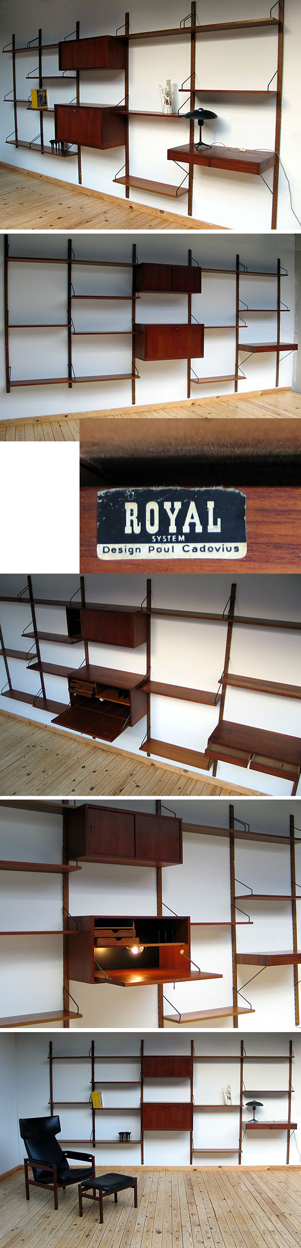 Wall unit ROYAL SYSTEM Design Poul Cadovius Denmark Large
