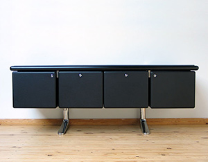 Warren Platner Black Leather Credenza Knoll International