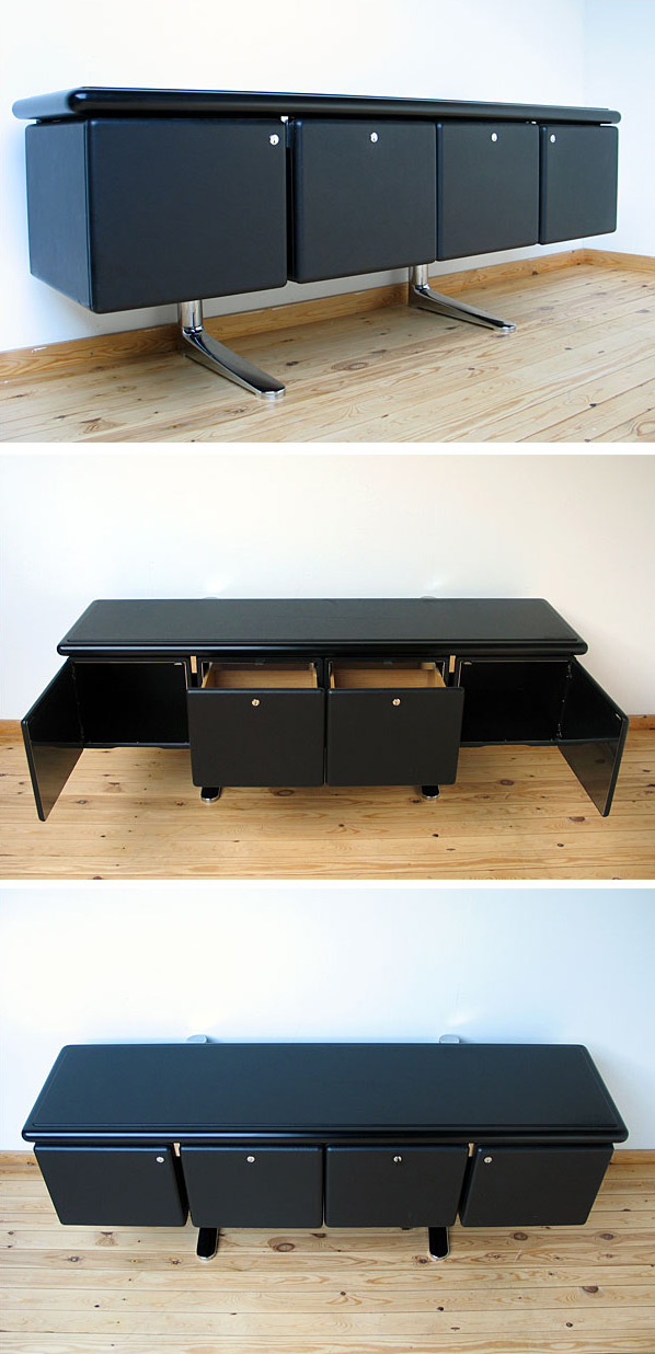 Warren Platner Black Leather Credenza Knoll International Large