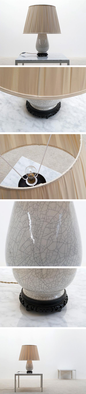 White ivory ceramic table lamp Large