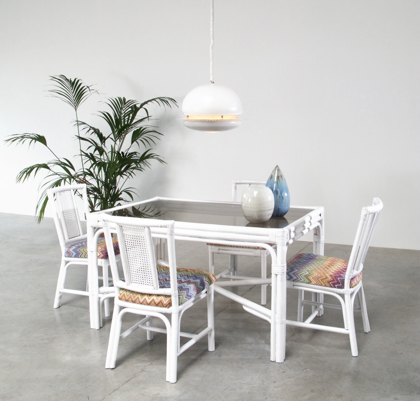 White Rattan dinning chairs and table Missoni Fabric