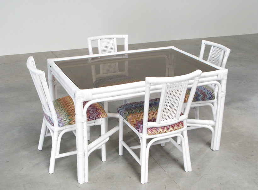White Rattan dinning chairs and table Missoni Fabric img 3