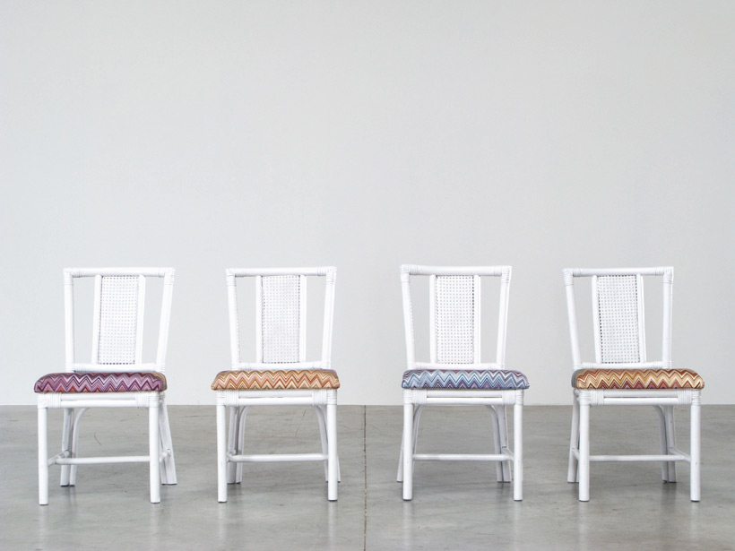 White Rattan dinning chairs and table Missoni Fabric img 5