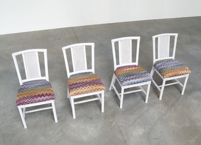White Rattan dinning chairs and table Missoni Fabric img 6