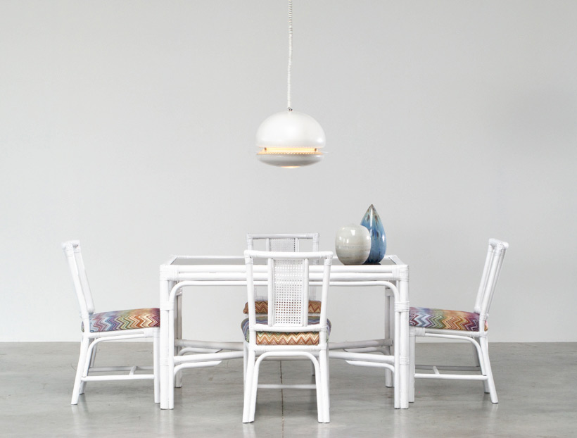 White Rattan dinning chairs and table Missoni Fabric img 7