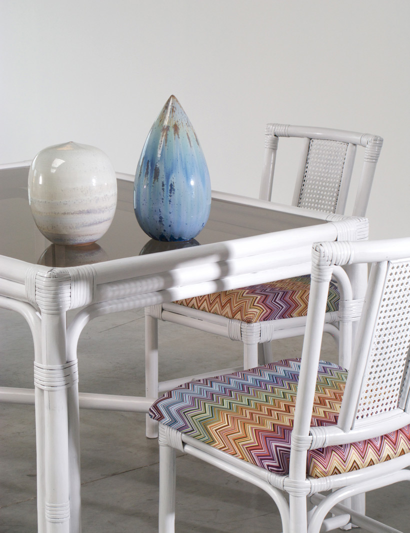 White Rattan dinning chairs and table Missoni Fabric img 8