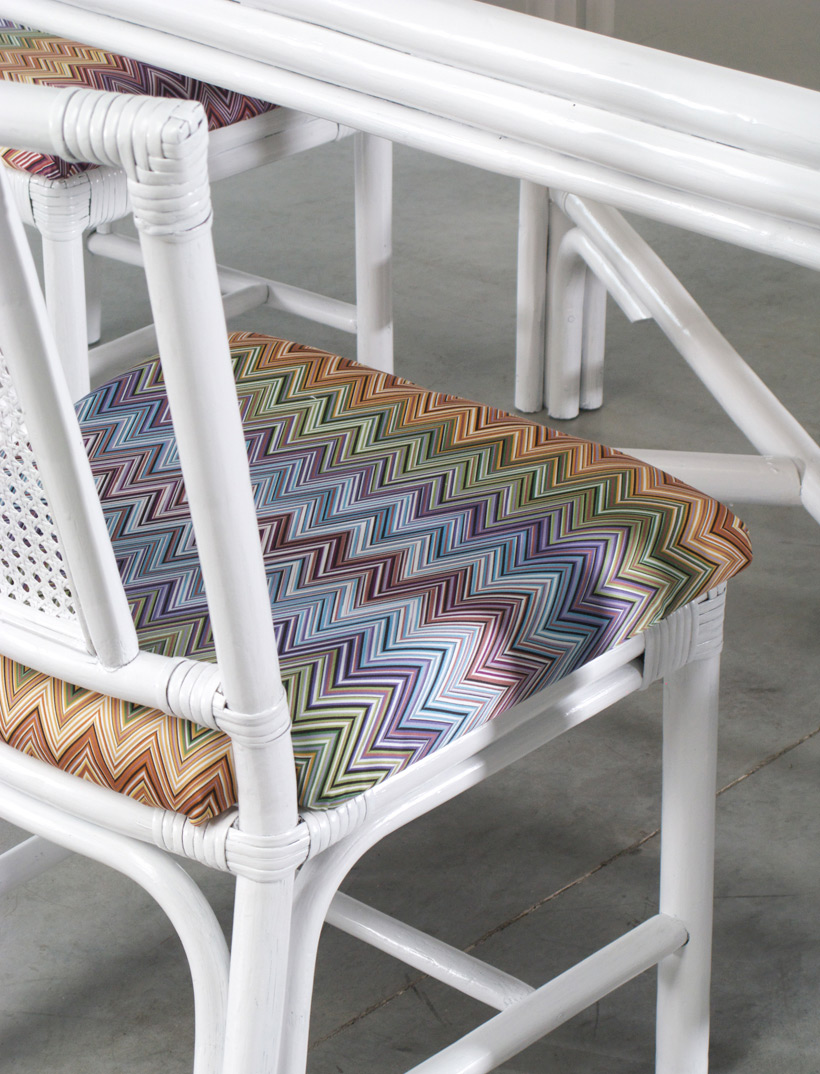 White Rattan dinning chairs and table Missoni Fabric img 9