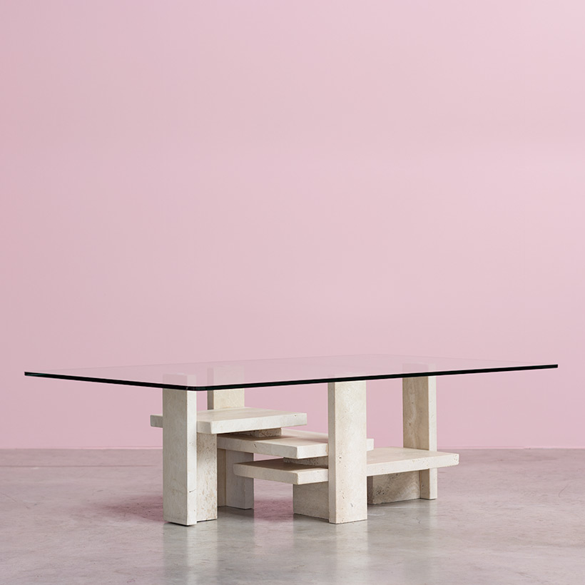 Willy Ballez architectural travertine coffee table circa 1970