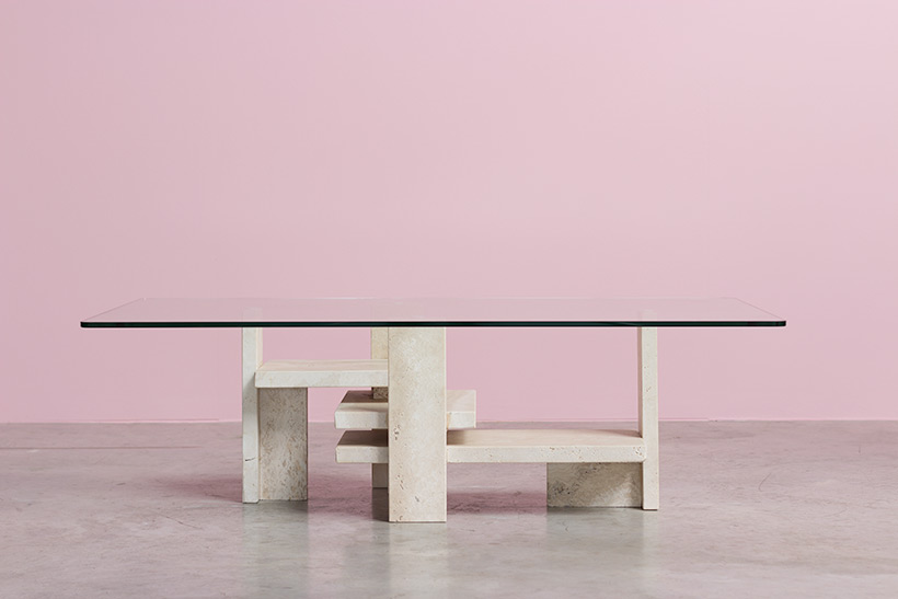 Willy Ballez architectural travertine coffee table circa 1970 img 3