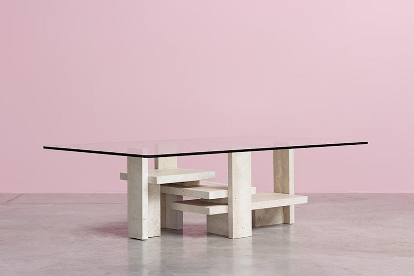 Willy Ballez architectural travertine coffee table circa 1970 img 4