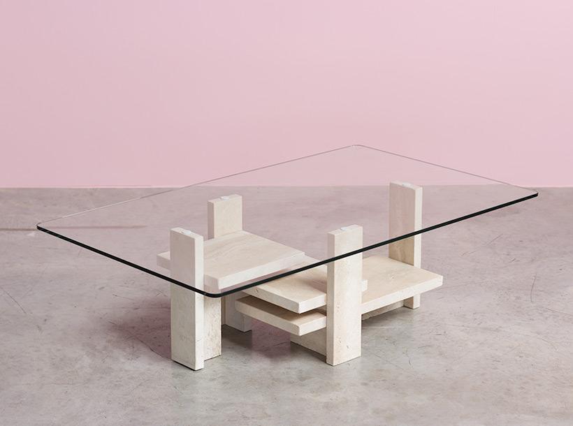 Willy Ballez architectural travertine coffee table circa 1970 img 5