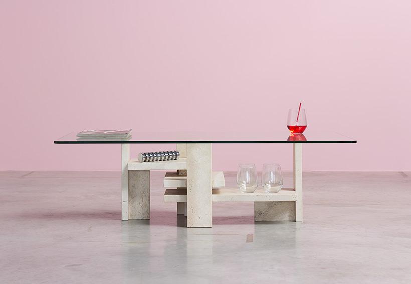 Willy Ballez architectural travertine coffee table circa 1970 img 6