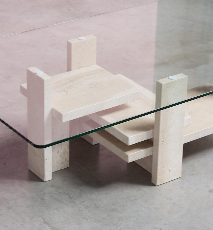 Willy Ballez architectural travertine coffee table circa 1970 img 7