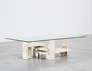 Willy Ballez brutalist travertine coffee table circa 1970