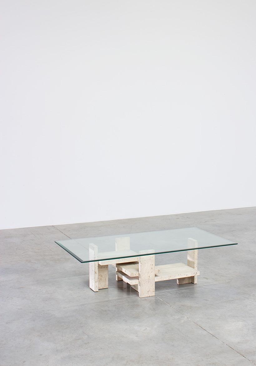 Willy Ballez brutalist travertine coffee table circa 1970 img 7