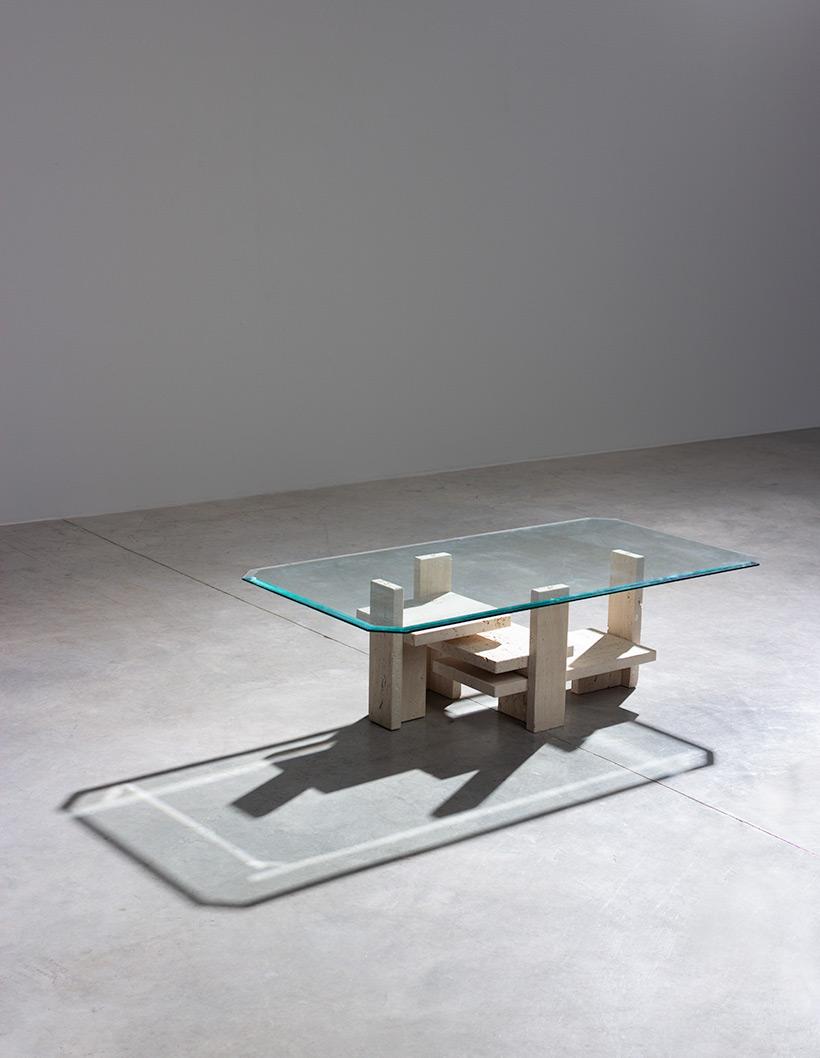 Willy Ballez travertine Architectural Postmodern coffee table