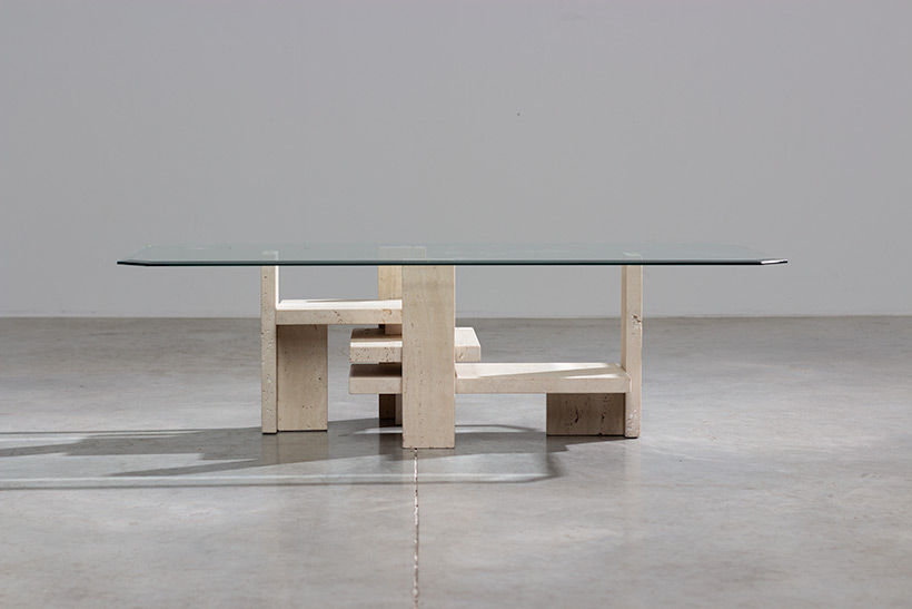 Willy Ballez travertine Architectural Postmodern coffee table img 3