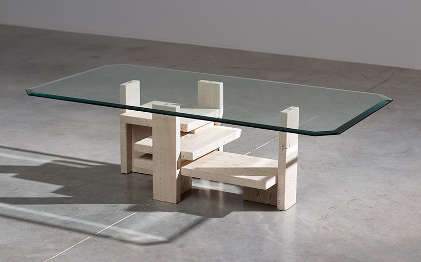 Willy Ballez travertine Architectural Postmodern coffee table img 4