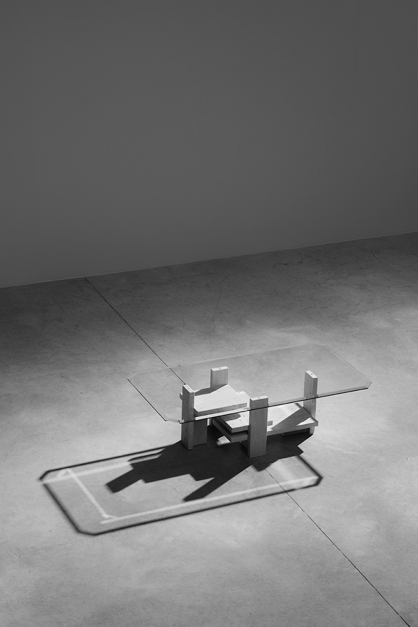 Willy Ballez travertine Architectural Postmodern coffee table img 5