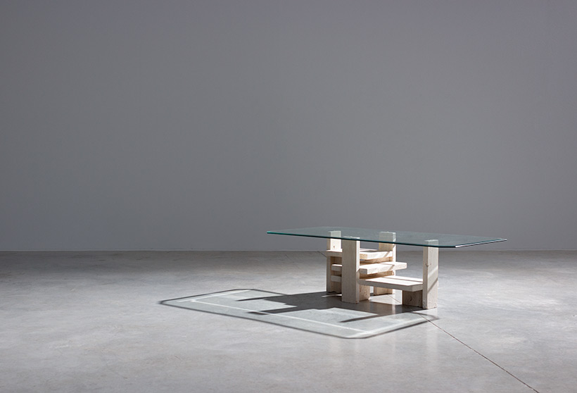 Willy Ballez travertine Architectural Postmodern coffee table img 6