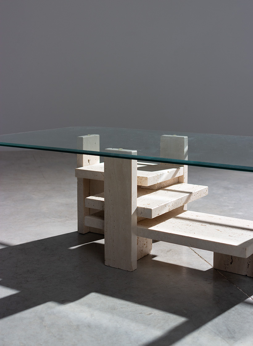 Willy Ballez travertine Architectural Postmodern coffee table img 7