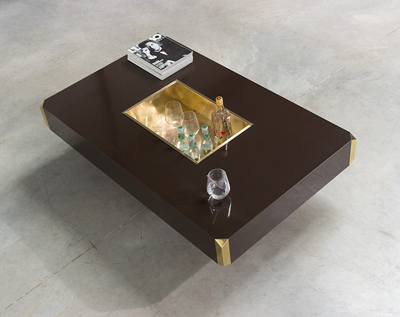 Willy Rizzo Alveo brown and brass Coffee Cocktail Table 1970