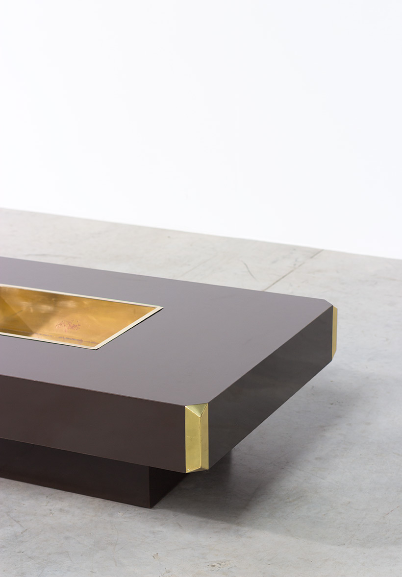 Willy Rizzo Alveo brown and brass Coffee Cocktail Table 1970 img 3