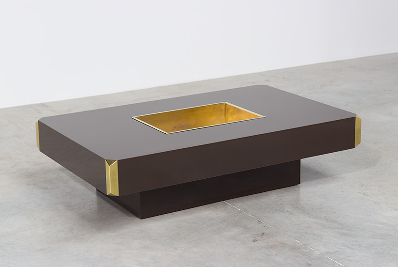 Willy Rizzo Alveo brown and brass Coffee Cocktail Table 1970 img 4