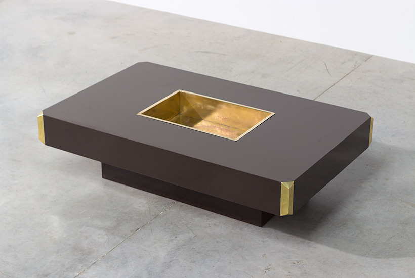 Willy Rizzo Alveo brown and brass Coffee Cocktail Table 1970 img 5