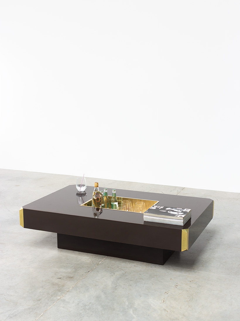 Willy Rizzo Alveo brown and brass Coffee Cocktail Table 1970 img 6