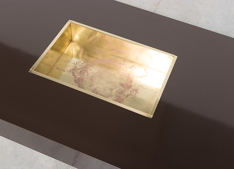 Willy Rizzo Alveo brown and brass Coffee Cocktail Table 1970 img 7