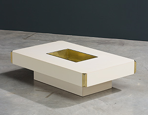 Willy Rizzo Alveo cream colored and brass Low Table 1970